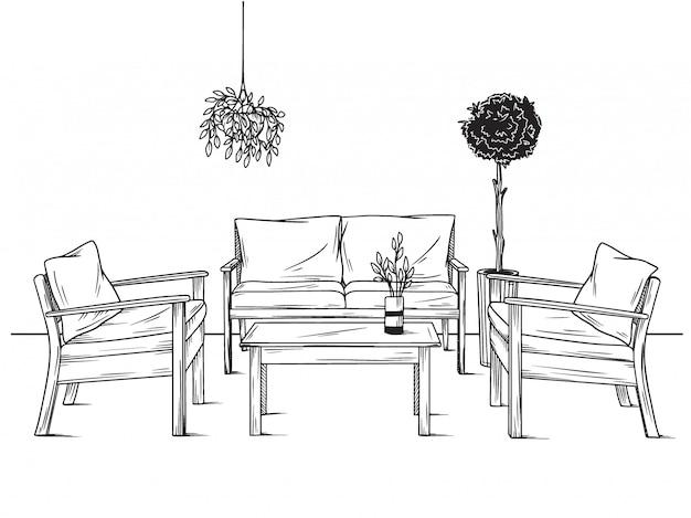 Set di mobili per il giardino. poltrone, divano e tavolo tra le piante. illustrazione vettoriale