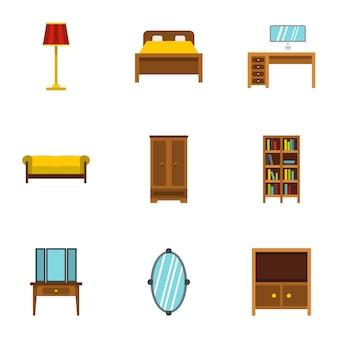 Set di mobili per la casa, stile piatto