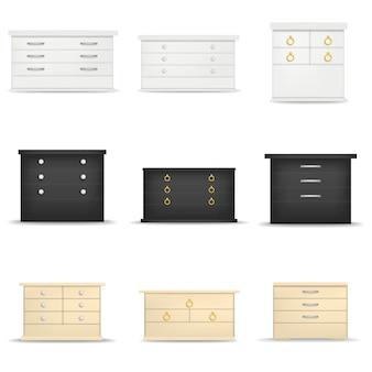 Set di mockup del comodino del comodino. illustrazione realistica di 9 modelli di comodini da comodino per il web