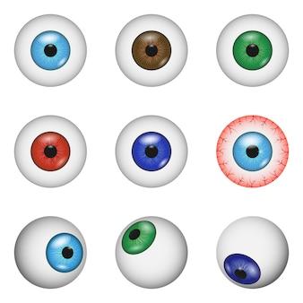 Set di mockup di anatomia di palla oculare