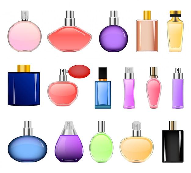Set di mockup di bottiglie di profumo