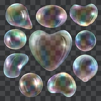 Set di mockup di bubble blower. illustrazione realistica di 10 modelli di bolla soffiatore per il web