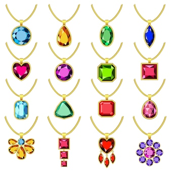 Set di mockup di catena di gioielli di collana