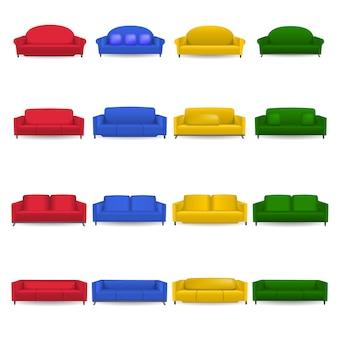 Set di mockup di divano per sala da pranzo. un'illustrazione realistica di 16 mockup di divano per sala sofà per il web