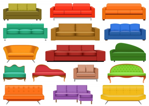 Set di mockup di divano per sala da pranzo