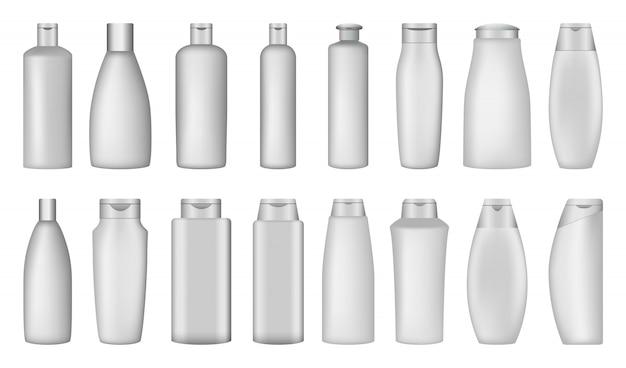 Set di mockup di sapone per bottiglie di shampoo