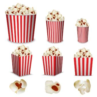 Set di mockup di scatola di cinema popcorn