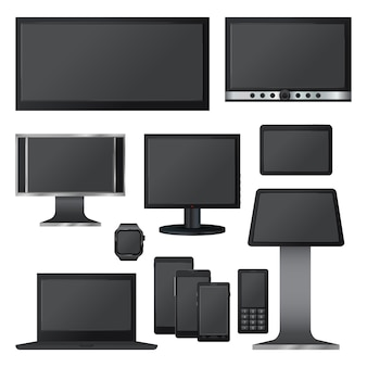 Set di mockup di schermo nero. illustrazione realistica di 10 mockup di schermo nero per il web