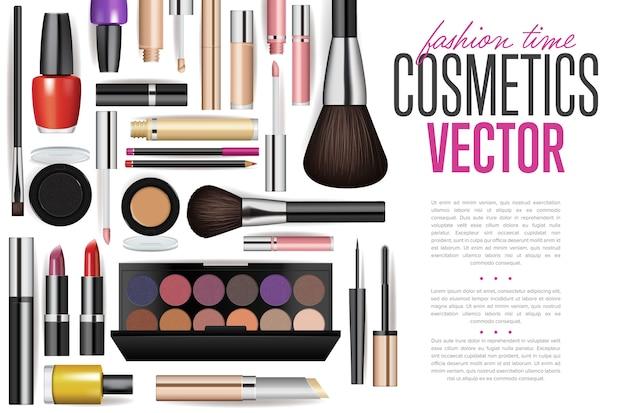 Set di mockup di strumenti cosmetici realistici