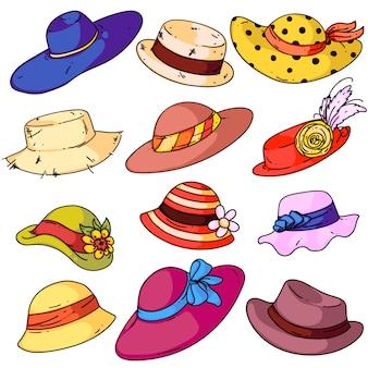 Set di moda cappello donna. cappelli femminili di estate isolata del fumetto con l'accumulazione dei nastri dei bordi. stile di usura della testa retrò donna. illustrazione di vettore di design accessorio signora