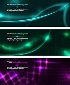 Set di modelli di banner design scuro
