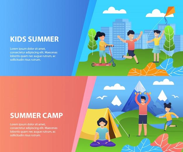Set di modelli di banner di estate ricreazione per bambini. i bambini felici del fumetto si divertono, riposano, trascorrono momenti gioiosi nel parco cittadino e nel campeggio nella valle delle montagne.