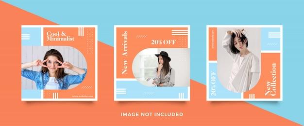 Set di modelli di banner di vendita di moda