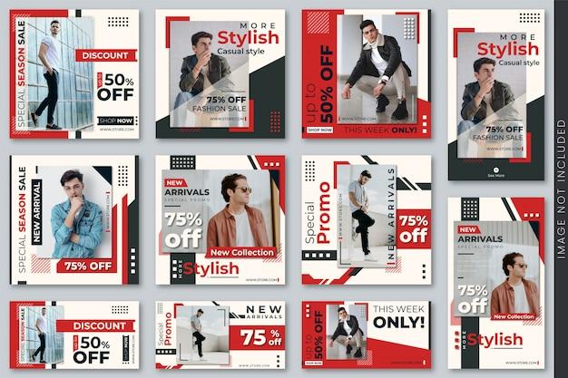 Set di modelli di banner e storie di social media di moda