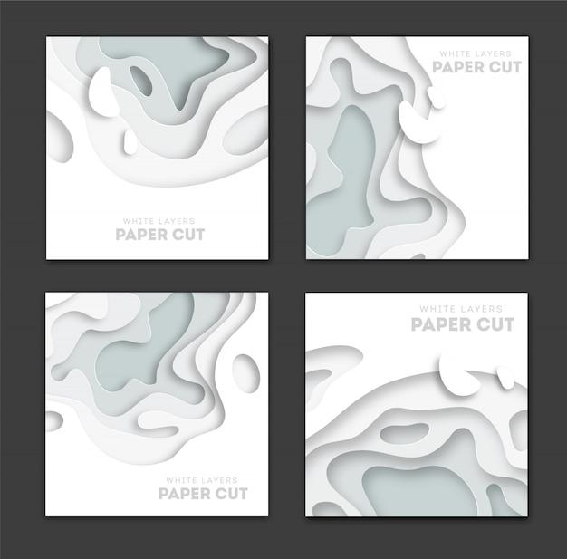 Set di modelli di banner quadrati con forme di taglio della carta