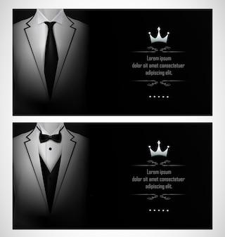 Set di modelli di biglietti d'invito business tuxedo bianco
