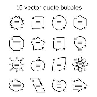 Set di modelli di bolla di testo citazione quadrata in varie viste. citazione di motivazione