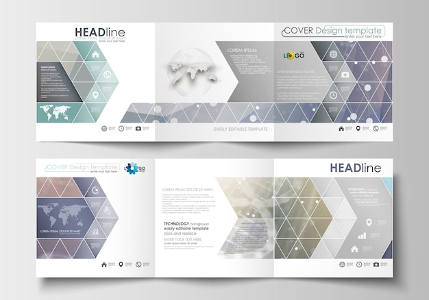 Set di modelli di business per brochure tri-fold. design quadrato. struttura della molecola del dna