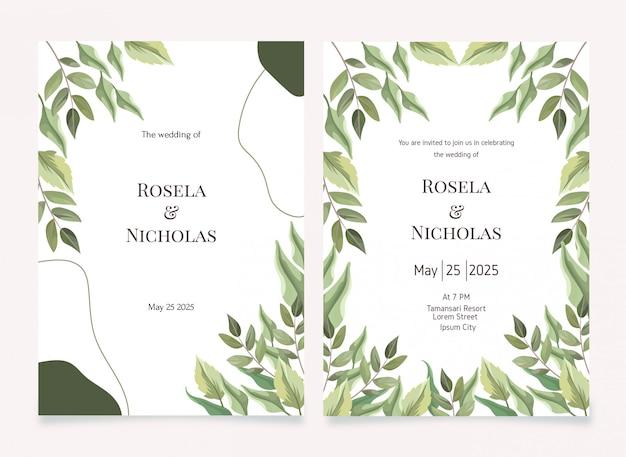 Set di modelli di carta set invito matrimonio floreale