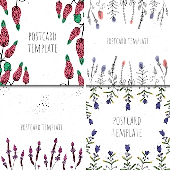 Set di modelli di carte. stile disegnato a mano. piante e astrazione