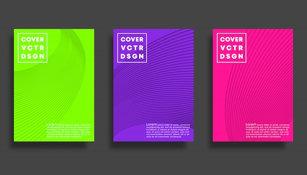 Set di modelli di copertina con linee, design minimale.