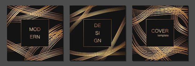 Set di modelli di copertina di lusso. copertina per cartelli, banner, volantini, presentazioni e carte