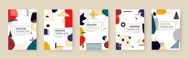 Set di modelli di copertina di memphis. elemento di arte geometrica alla moda e forma astratta