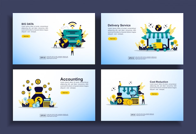 Set di modelli di design moderno per business, big data, servizio di consegna, contabilità, riduzione dei costi