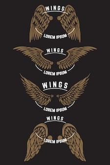 Set di modelli di emblema vintage con le ali. elementi per logo, etichetta, emblema, poster. illustrazione