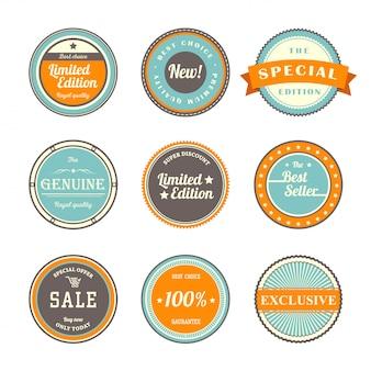 Set di modelli di etichette vintage
