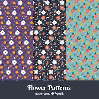 Set di modelli di fiori piatti
