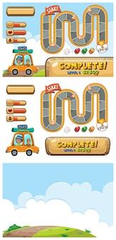 Set di modelli di gioco con auto su strada sterrata