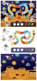 Set di modelli di gioco con gli astronauti nello spazio