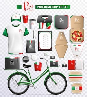 Set di modelli di imballaggio per pizza