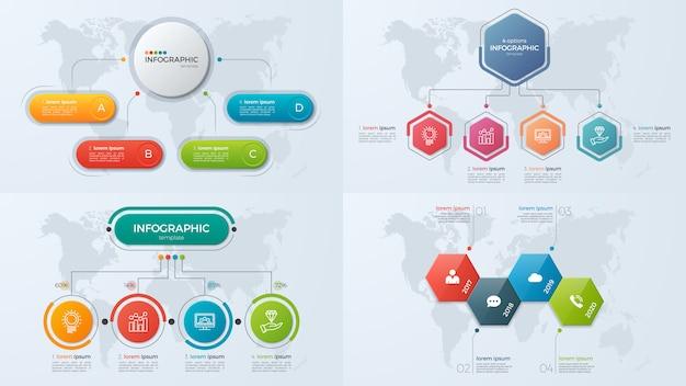 Set di modelli di infografica di presentazione aziendale con 4 opzioni