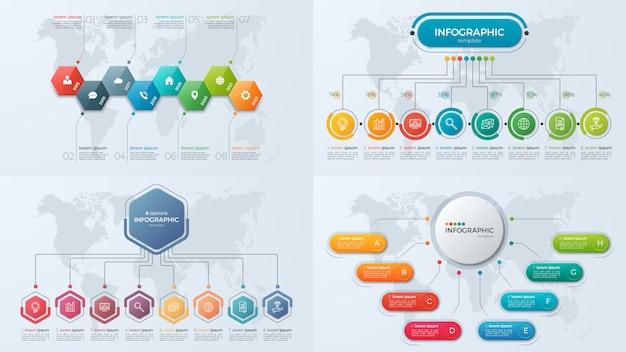Set di modelli di infografica di presentazione aziendale con 8 opzioni