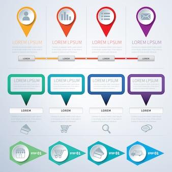 Set di modelli di infografica piatta