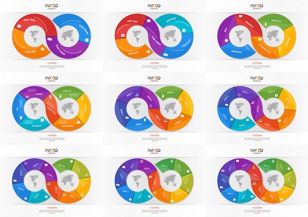 Set di modelli di infografica sotto forma del segno di infinito