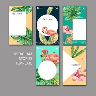 Set di modelli di instagram dell'acquerello