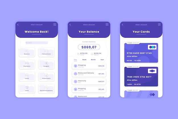 Set di modelli di interfaccia app bancaria