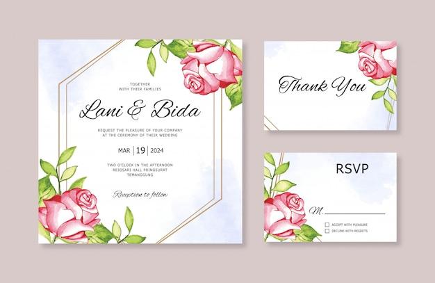 Set di modelli di inviti di nozze con fiori di pittura ad acquerello
