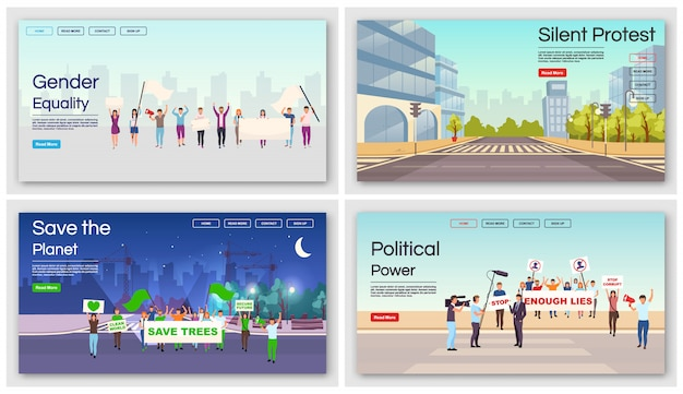 Set di modelli di landing page movimenti sociali. uguaglianza di genere, salva l'idea dell'interfaccia del sito web di proteste del pianeta con illustrazioni. layout della homepage della dimostrazione politica. web, concetto di pagina web
