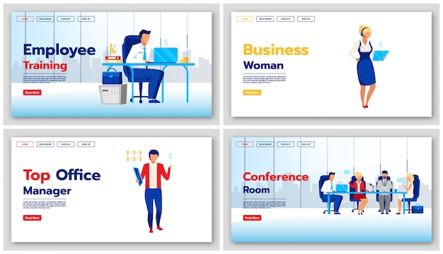 Set di modelli di landing page stile di vita aziendale. idea di interfaccia sito web aziendale con illustrazioni. layout della homepage di formazione dei dipendenti. web del responsabile di ufficio, concetto del fumetto della pagina web