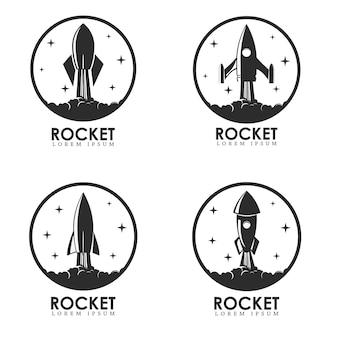Set di modelli di logo con il lancio di un razzo.
