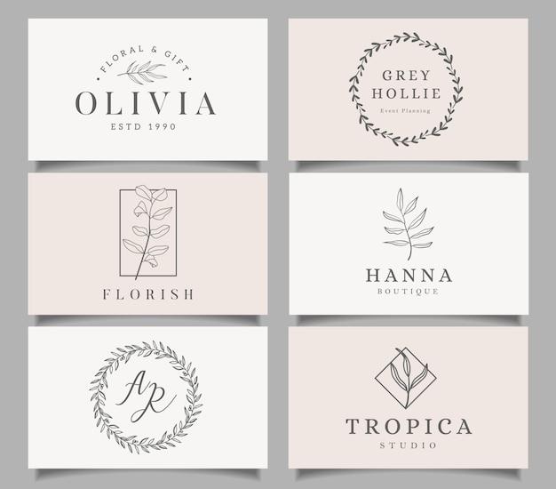 Set di modelli di logo. design elegante logo con foglie, rami e ghirlande