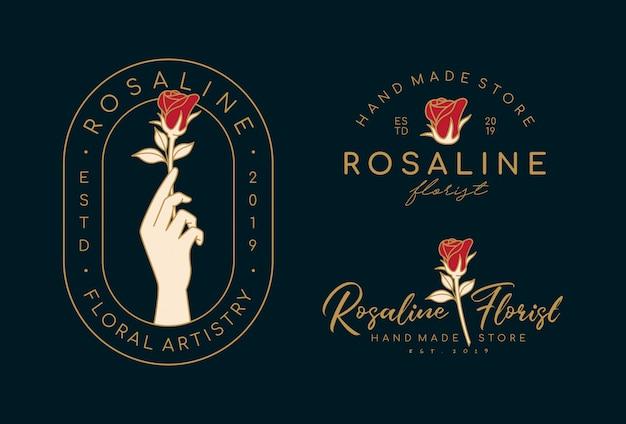 Set di modelli di logo femminile disegnato a mano