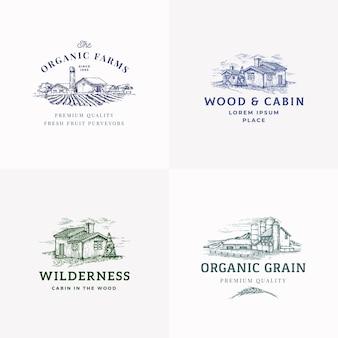 Set di modelli di logo, simboli o segni astratti di fattorie e cabine.