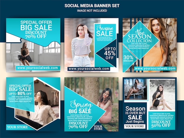 Set di modelli di moda social media post