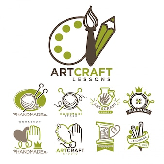 Set di modelli di modelli di artigianato artistico e artigianale.