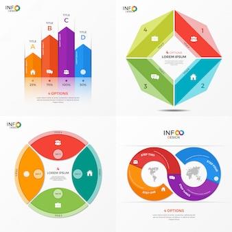 Set di modelli di opzioni infografica